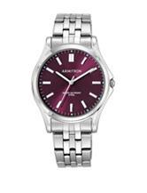 Armitron Burgundy Sunray Dial Silver-Tone Bracelet Watch