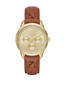 Chaps Kasia Gold-Tone Sunray Dial Brown Leather Watch