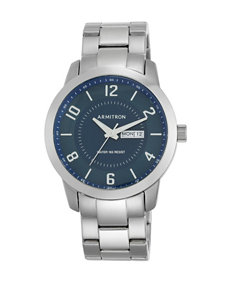 Armitron Day & Date Navy Blue Dial Silver-Tone Bracelet Watch