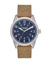 Chaps Bransen Navy Blue Dial Brown Canvas Watch