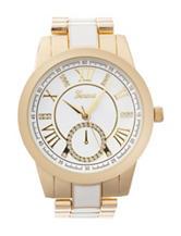 Global Time White & Gold-Tone Boyfriend Bracelet Watch