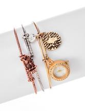 Global Time Owl Charms Bangle Bracelet Watch Set