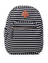 Madden Girl Optical Illusion Striped Canvas Backpack