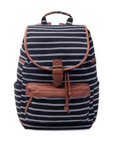 Madden Girl BBench Stripe Print Canvas Backpack
