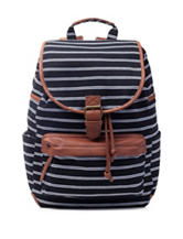 Madden Girl BBench Stripe Print Canvas Backpack