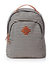 Madden Girl BText Stripe Print Canvas Backpack