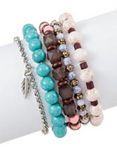 Wishful Park 5-pc. Leaf Charm Stacked Bracelets