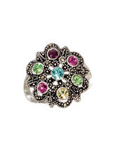 Marsala Silver-Tone Flower Burst Medallion Ring