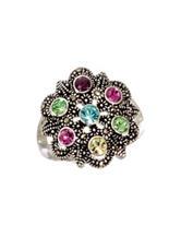 Marsala Silver-Tone Flower Burst Medallion Ring