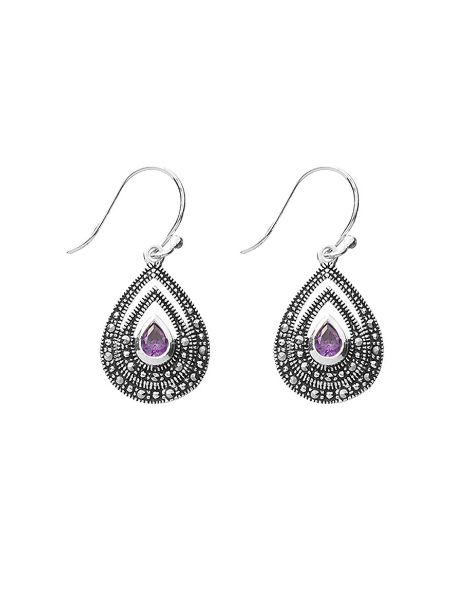 Marsala Purple Drops Earrings Fine Jewelry
