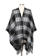 Steve Madden Reversible Monochromatic Plaid Wrap Ruana