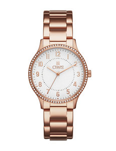Chaps Crystal Studded Rose Gold-Tone Bracelet Watch
