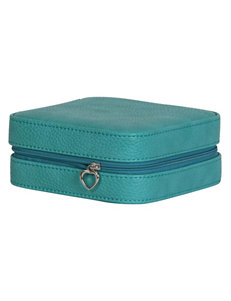 Mele & Co. Josette Faux Leather Turquoise Travel Jewelry Case