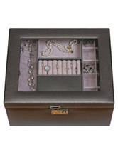 Mele & Co. Linden Glass Top Faux Leather Pewter Finish Jewelry Box
