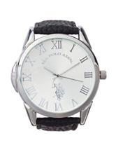 U.S. Polo Assn. Silver-Tone Dial Black Strap Watch