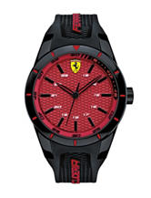 Scuderia Ferrari RedRev Red Dial Black Silicone Strap Watch