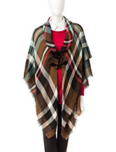 Accessory Street Multicolor Plaid Print Poncho