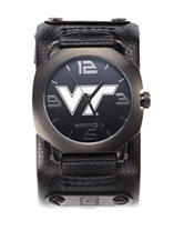 Virginia Tech Rockwell Assassin Black Leather Strap Watch