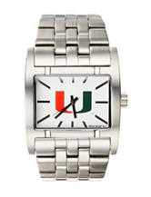 University of Miami Silver-Tone Link Watch