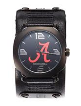 University of Alabama Black Leather Strap Watch