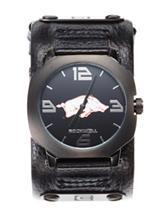 Arkansas Razorbacks Black Leather Strap Watch
