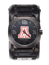 University of Arizona Black Leather Strap Watch