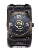Colorado Buffaloes Black Leather Strap Watch