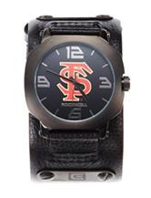 Florida State University Black Leather Strap Watch