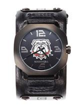 Georgia Bulldogs Black Leather Strap Watch