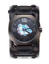 Gonzaga Bulldogs Black Leather Strap Watch