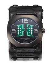 University of Hawaii Black Leather Strap Watch
