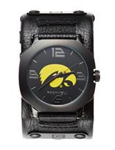 University of Iowa Black Leather Strap Watch