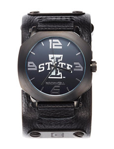 Iowa State University Black Leather Strap Watch