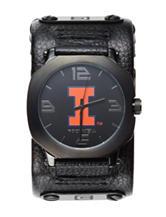 University of Illinois Black Leather Strap Watch