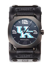 University of Kentucky Black Leather Strap Watch