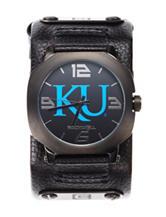 University of Kansas Black Leather Strap Watch
