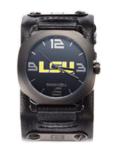 LSU Tigers Black Leather Strap Watch
