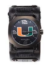 University of Miami Black Leather Strap Watch
