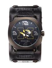 University of Missouri Black Leather Strap Watch