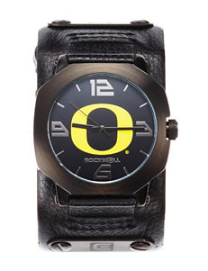 Oregon Ducks Black Leather Strap Watch