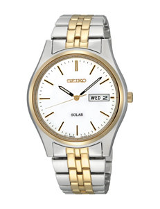 Seiko Solar White Dial Two-Tone Link Watch
