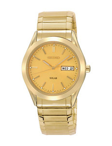 Seiko Solar Champagne Dial Gold-Tone Link Watch