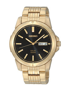 Seiko Solar Black Dial 100m Gold-Tone Link Watch