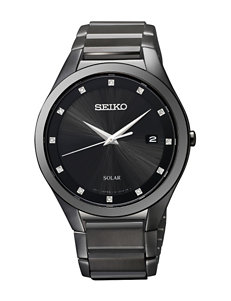 Seiko Solar Diamond Accent Black-Tone Link Watch