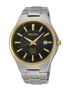 Seiko Solar Black Dial Two-Tone Titanium Link Watch