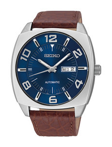 Seiko Recraft Navy Dial Brown Leather Strap Watch