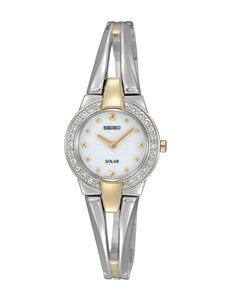 Seiko Solar Crystal Accent Two-Tone Bracelet Watch