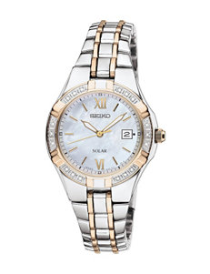 Seiko Solar Mother of Pearl Dial Two-Tone Bracelet Watch