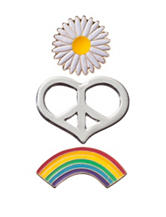 Wishful Park 3-pc. Rainbow Heart & Flower Pin Set
