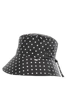 Totes Black & White Polka Dot Print Rain Hat
